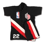 1983-84 CLYDE DREXLER PORTLAND TRAILBLAZERS (ROOKIE SEASON) GAME WORN ROAD FULL WARM-UP SUIT (JACKET AND PANTS)