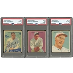 LOT OF (7) INCL. 1933 GOUDEY #222 CHAS GEHRINGER PSA VG 3 (MK) AND #110 GOOSE GOSLIN (PSA VG-EX 4) PLUS 1934 GOUDEY #62 HANK GREENBERG (PSA GD 2)