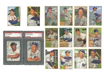 1952 BOWMAN BASEBALL COMPLETE SET OF (252) WITH #101 MANTLE (PSA VG-EX 4) AND #218 MAYS (PSA EX 5)