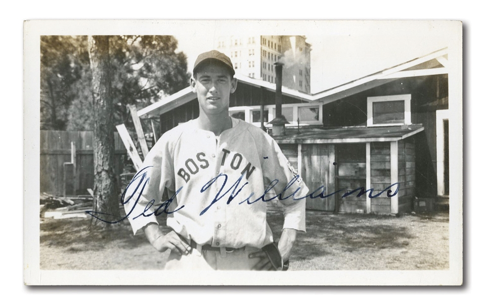 C. 1938-39 TED WILLIAMS AUTOGRAPHED ORIGINAL PHOTOGRAPH FROM SPRING TRAINING BEFORE ROOKIE SEASON - ONE OF HIS EARLIEST SHOTS IN RED SOX UNIFORM!