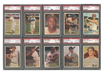 "1957 TOPPS BASEBALL PSA GRADED NEAR COMPLETE SET (406/407) WITH 8.0 GPA - PLUS #176b ""BAKEP"" ERROR FOR 407 TOTAL CARDS (ALL PSA NM-MT 8 OR HIGHER)"