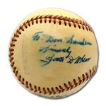 "C. 1960S ZACK WHEAT SINGLE SIGNED OFFICAL LEAGUE BASEBALL INSCRIBED ""1909 THRU 26 "" AND ""HALL OF FAME 1959"""