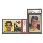 1955 TOPPS #123 SANDY KOUFAX AND 1957 TOPPS #18 DON DRYSDALE ROOKIE CARDS - BOTH PSA EX-MT 6