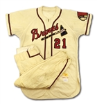 "1955 WARREN SPAHN MILWAUKEE BRAVES GAME WORN HOME JERSEY PLUS PAIR OF BRAVES PANTS FROM SAME ERA (SGC ""SUPERIOR"", MEARS A9.5)"