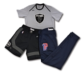 2017-18 BLAKE GRIFFIN DETROIT PISTONS GAME WORN TRIO OF MOTOR CITY EDITION SHOOTING SHIRT & SHORTS PLUS ROAD WARM-UP PANTS