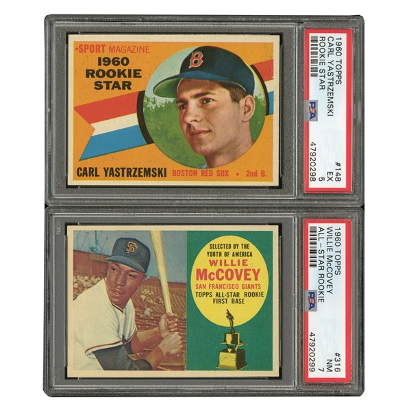 1960 TOPPS #316 WILLIE McCOVEY (PSA NM 7) AND #148 CARL YASTRZEMSKI (PSA EX 5) ROOKIES