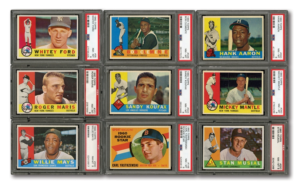 1960 TOPPS BASEBALL COMPLETE SET RANKED #20 ON PSA REGISTRY WITH 8.01 SET RATING