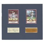HONUS WAGNER (PSA/DNA AUTH.) AND ROGERS HORNSBY (PSA/DNA MINT 9) CUT SIGNATURES DISPLAYED WITH MODERN BASEBALL CARDS