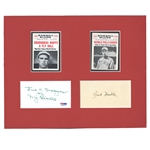 "N.Y. GIANTS ""GOATS"" FRED MERKLE (GPC) & FRED SNODGRASS (3x5) AUTOGRAPH DISPLAY (PSA/DNA AUTH.)"