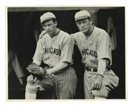 1928 ED WALSH SR. AND JR. CHICAGO WHITE SOX 8x10 ORIGINAL PHOTO BY CHARLES CONLON - TOUCHING FATHER & SON SHOT! (PSA/DNA TYPE I)