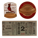 1931 WORLD SERIES (ST. LOUIS VS. PHILADELPHIA) GAME 2 TICKET STUB (SGC AUTH.) PLUS 1967 AND 1982 CARDINALS W.S. PRESS PINS