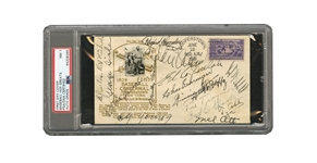 1939 INAUGURAL HALL OF FAME FIRST DAY COVER SIGNED BY 16 EARLY INDUCTEES INCL. TY COBB, CY YOUNG, SPEAKER, SISLER, COLLINS, FOXX, HORNSBY, OTT, ETC. - PSA/DNA NM 7 (ORGINAL BBWAA VOTER PROVENANCE)