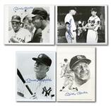 MICKEY MANTLE LOT OF (4) SIGNED FLATS INCL. GEORGE LOH ART PRINT AND (3) BLACK & WHITE 8x10 PHOTOS