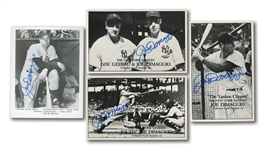 JOE DIMAGGIO TRIO OF AUTOGRAPHED UNION NOVELTY COMPANY CARDS (#S 10, 13 & 14) PLUS SIGNED PLAYER PHOTO-CARD