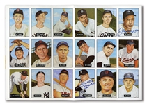 1982 TCMA UNCUT SHEET OF (18) SIGNED BY MICKEY MANTLE AND JOE DiMAGGIO