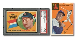 1948 LEAF #76 TED WILLIAMS (PSA GD 2), 1954 TOPPS #1 T. WILLIAMS, AND 1960 TOPPS #148 CARL YASTRZEMSKI RC (PSA EX-MT 6)