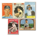 WHITEY FORD LOT OF (6) DIFFERENT 1953-61 TOPPS & BOWMAN CARDS - ONE PSA GRADED