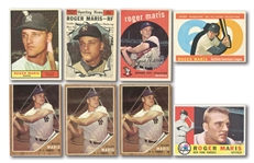 ROGER MARIS LOT OF (8) 1958-62 TOPPS CARDS (SIX DIFFERENT)