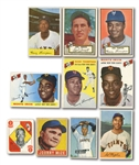 N.Y. GIANTS CARD LOT OF (10) 1948-55 LEAF, TOPPS & BOWMAN INCL. JOHNNY MIZE, MONTE IRVIN, ETC.