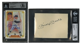 MICKEY MANTLE SIGNED 4x6 INDEX CARD (BECKETT 9 AUTO.) AND AUTOGRAPHED 1984 DONRUSS CHAMPIONS #50 CARD (BECKETT 10 AUTO.)