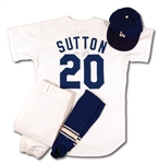 1979 DON SUTTON SIGNED L.A. DODGERS GAME WORN HOME UNIFORM ENSEMBLE INCL. JERSEY (MEARS A9.5), PANTS, CAP & STIRRUPS - ALL LOANED & DISPLAYED IN COOPERSTOWN HOF MUSEUM