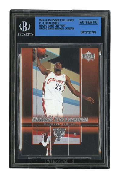 2003-04 UPPER DECK ROOKIE EXCLUSIVES #1 LEBRON JAMES ERROR WITH MICHAEL JORDAN BACK AND NAME ON FRONT - SUPER RARE, A POSSIBLE 1-OF-1 ERROR RC! (BGS AUTHENTIC)
