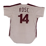 "1980 PETE ROSE SIGNED & INSCRIBED (""4256"") PHILADELPHIA PHILLIES GAME WORN HOME JERSEY FROM WORLD CHAMP. SEASON (MEARS A10)"