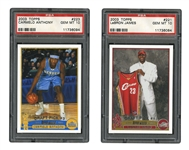 2003 TOPPS BASKETBALL #221 LEBRON JAMES AND 223 CARMELO ANTHONY - BOTH PSA GEM MINT 10