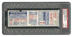 1926 WORLD SERIES (ST. LOUIS CARDINALS AT N.Y. YANKEES) GAME 7 FULL TICKET: CARDS CLINCH 1ST W.S. TITLE (PSA AUTHENTIC)