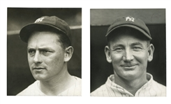 1927 N.Y. YANKEES STAR PITCHERS WAITE HOYT & WILCY MOORE PAIR OF ORIGINAL PHOTOS BY CHARLES CONLON - TWO SCARCE TEAM PORTRAITS!
