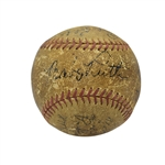 1931 NEW YORK YANKEES AND BOSTON BRAVES MULTI-SIGNED BASEBALL INCL. BABE RUTH & LOU GEHRIG