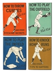"1930S QUAKER OATS BABE RUTH ""HOW TO"" BOOKLETS COMPLETE SET OF FOUR - KNOCK HRS, PLAY OUTFIELD, PLAY INFIELD & THROW CURVES"
