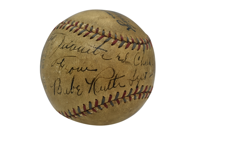 "1931 BABE RUTH SINGLE SIGNED OAL (HARRIDGE) BASEBALL INSCRIBED TO HIS MISTRESS JUANITA - ""THE MISTRESS BALL"" (RUTH FAMILY LOA)"