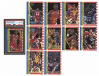 1987-88 FLEER BASKETBALL COMPLETE SET OF 132 PLUS COMPLETE STICKER SET OF 11 (BOTH MICHAEL JORDANS PSA NM-MT 8)