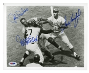 SANDY KOUFAX, JOHN ROSEBORO AND JUAN MARICHAL TRIPLE-SIGNED 8x10 PHOTOGRAPH - UGLIEST BRAWL IN HISTORY
