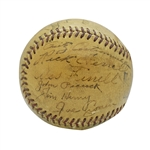 1937 BOSTON RED SOX TEAM SIGNED METRO LEAGUE BASEBALL INCL. 5 HALL OF FAMERS & MOE BERG