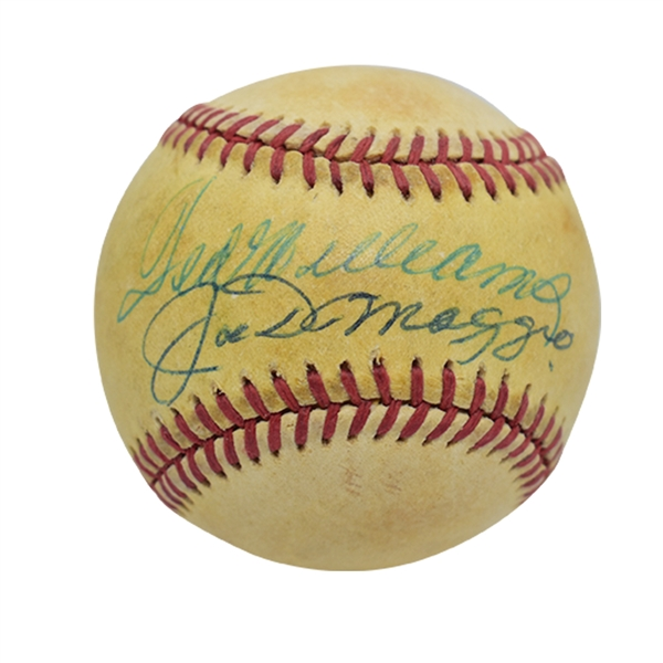 TED WILLIAMS AND JOE DiMAGGIO DUAL-SIGNED OAL (BROWN) BASEBALL
