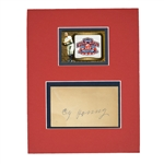 CY YOUNG BEAUTIFULLY SIGNED GPC DISPLAYED WITH TOPPS COMMEMORATIVE 1903 W.S. PATCH CARD - PSA/DNA AUTHENTIC