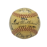 1946 BOSTON RED SOX A.L. CHAMPIONS TEAM SIGNED BASEBALL WITH TED WILLIAMS ON SWEET SPOT (PSA/DNA NM-MT 8 AUTO.)