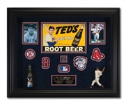 TED WILLIAMS SIGNED TEDS CREAMY ROOT BEER AD (TIN) W/ BOTTLE PLUS ORIGINAL HARTLAND STATUE IN SHADWOBOX DISPLAY