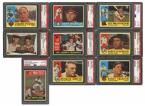 1960 TOPPS BASEBALL LOT OF (65) PSA GRADED CARDS INCL. #77 MARIS - ALL PSA NM-MT 8 EXCEPT ONE