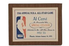 AL CERVIS 1975 NBA ALL-STAR GAME 25TH ANNIVERSARY SPECIAL AWARD HONORING HIS TWO ALL-STAR GAMES AS HEAD COACH
