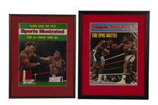 MUHAMMAD ALI PAIR OF SIGNED SI MAGAZINES FRAMED: 11/11/1974 (RUMBLE IN THE JUNGLE) AND 10/13/1975 (FRAZIER III)