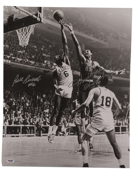 "WILT CHAMBERLAIN (""THE STILT"") AND BILL RUSSELL (""#6"") DUAL-SIGNED AND INSCRIBED 16x20 PHOTO"