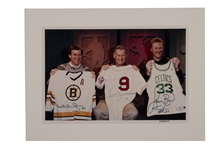 """THE BOYS OF BOSTON"" LARGE FORMAT PHOTO SIGNED BY TED WILLIAMS, BOBBY ORR AND LARRY BIRD"