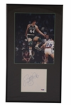 """PISTOL"" PETE MARAVICH AUTOGRAPHED PAGE WITH BOSTON CELTICS PHOTO DISPLAY"