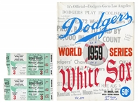 1959 LOS ANGELES DODGERS WORLD SERIES LOT OF (3) PROGRAMS AND (5) TICKETS TO GAMES THREE, FOUR AND FIVE