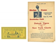 "1939 ""CAVALCADE OF BASEBALL"" TICKET STUB PLUS 1941-46 COOPERSTOWN HALL OF FAME GAME PROGRAMS (5 CONSECUTIVE INDUCTION YEARS)"