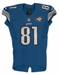 9/21/2014 CALVIN JOHNSON SIGNED DETROIT LIONS GAME WORN JERSEY PHOTO-MATCHED TO WIN VS. PACKERS (RESOLUTION LOA)