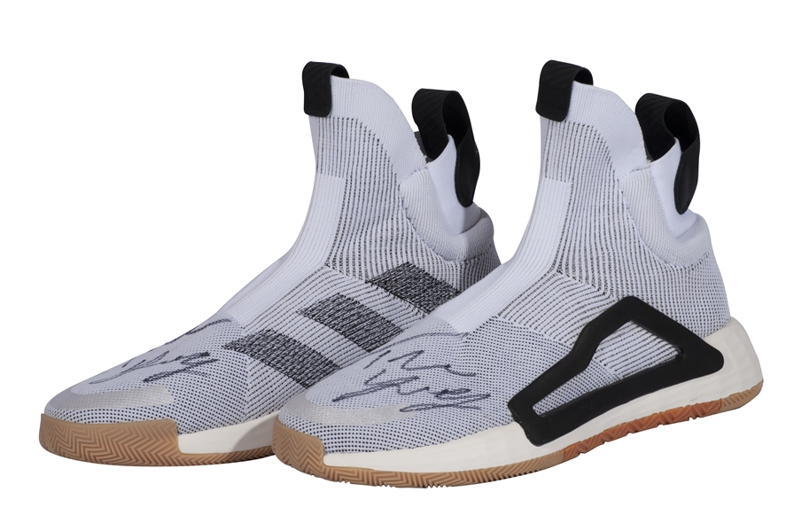 2019-20 TRAE YOUNG DUAL-SIGNED PAIR OF GAME ISSUED ADIDAS N3XT L3V3L PLAYER EXCLUSIVE SHOES